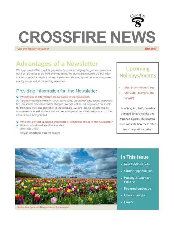 Crossfire Monthly Newsletter Crossfire Newsletter - May