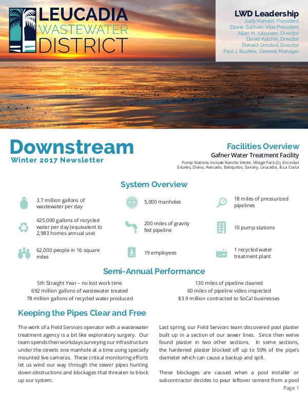 Leucadia Wastewater District Winter 2017 Newsletter Winter 2017