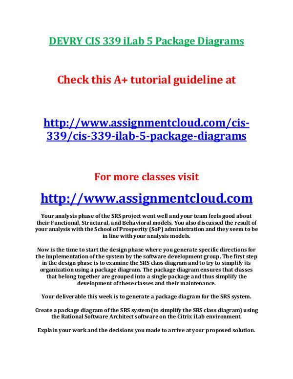 DEVRY CIS 339 iLab 5 Package Diagrams