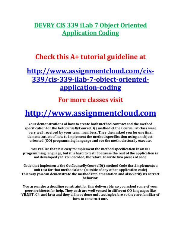 DEVRY CIS 339 iLab 7 Object Oriented Application C