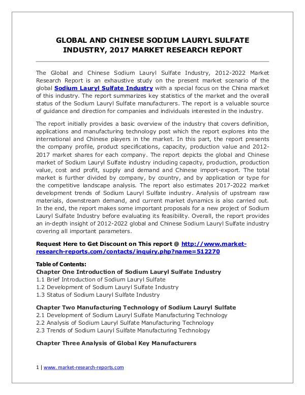 Sodium Lauryl Sulfate Market 2012-2022 Analysis, Trends and Forecasts Global Sodium Lauryl Sulfate Industry Forecast Stu