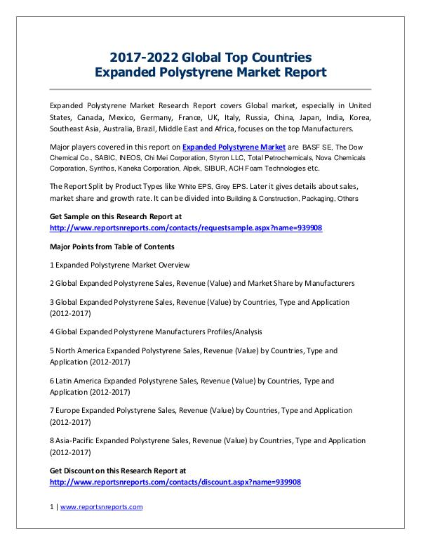 Expanded Polystyrene Market 2017 Analysis, Trends and Forecasts 2022 Germany Expanded Polystyrene market Revenue and Gr