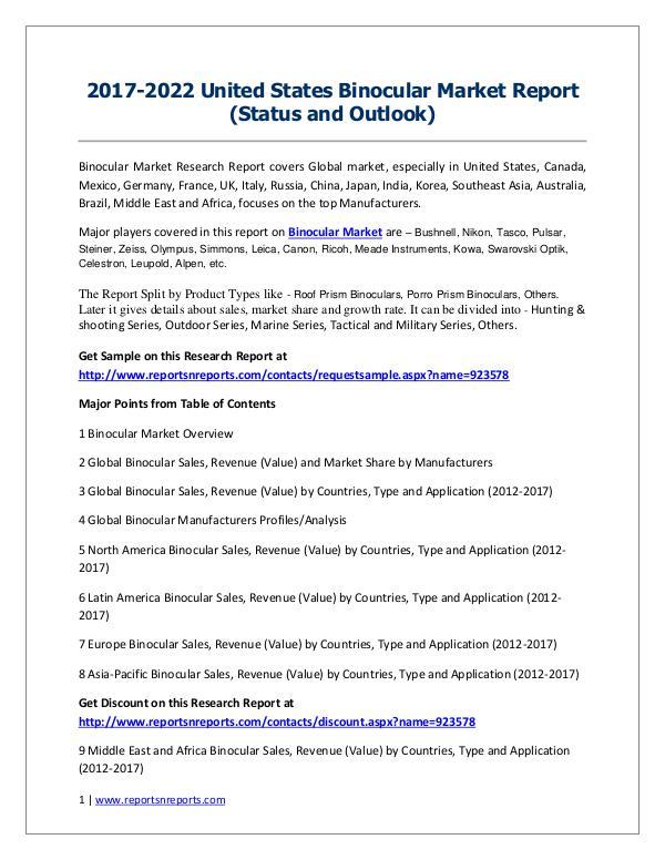 Binocular Market 2017 Analysis, Trends and Forecasts 2022 2017-2022 United States Binocular Market Report (S