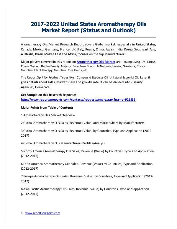 2017-2022 Global Top Countries Aromatherapy Oils Market Report 2017-2022 United States Aromatherapy Oils Market R