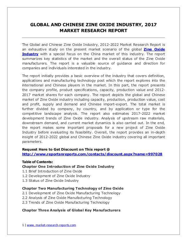 Zine Oxide Market 2012-2022 Analysis, Trends and Forecasts Global and Chinese Zine Oxide Industry, 2017 Marke