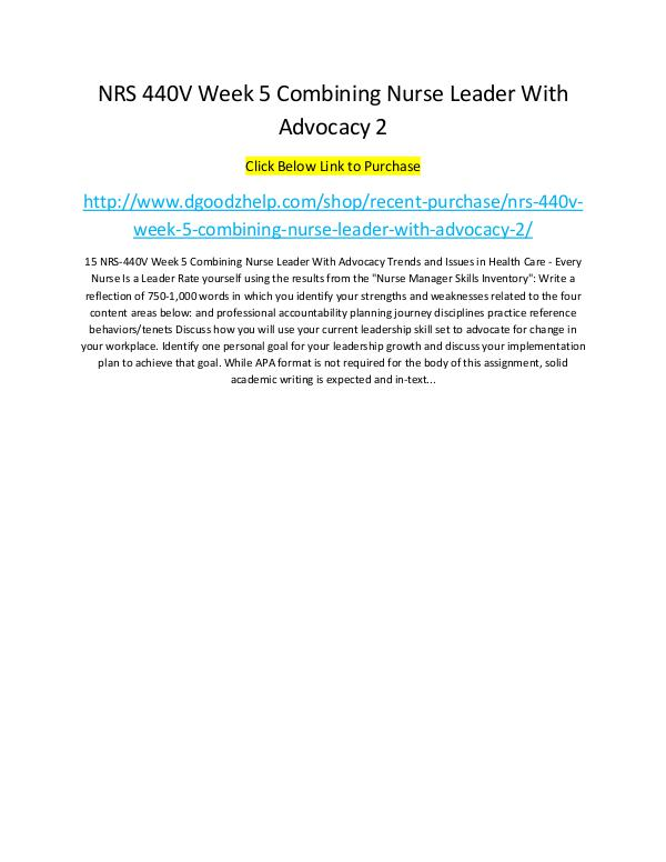 NRS 440V Week 5 Combining Nurse Leader With Advocacy 2 NRS 440V Week 5 Combining Nurse Leader With Advoca