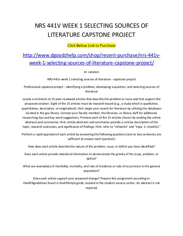 NRS 441V WEEK 1 SELECTING SOURCES OF LITERATURE CAPSTONE PROJECT NRS 441V WEEK 1 SELECTING SOURCES OF LITERATURE