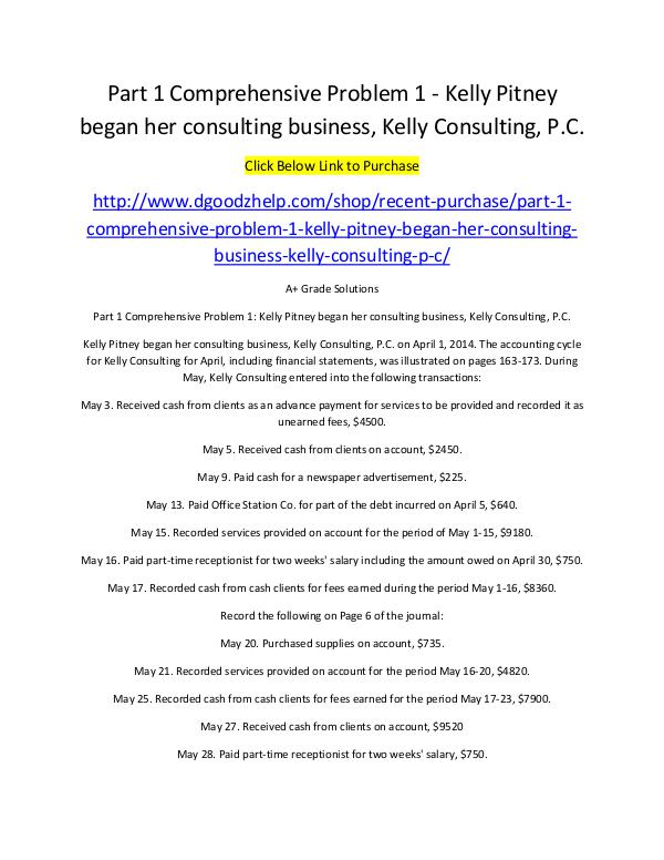 Part 1 Comprehensive Problem 1 - Kelly Pitney began her consulting bu Part 1 Comprehensive Problem 1 - Kelly Pitney
