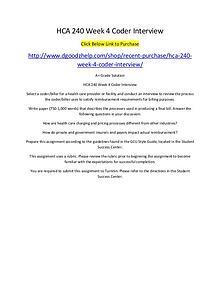 HCA 240 Week 4 Coder Interview