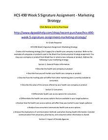 HCS 490 Week 5 Signature Assignment - Marketing Strategy