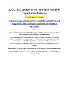 SOCI 212 Assignment 1: The Sociological Viewpoint Toward Social Probl