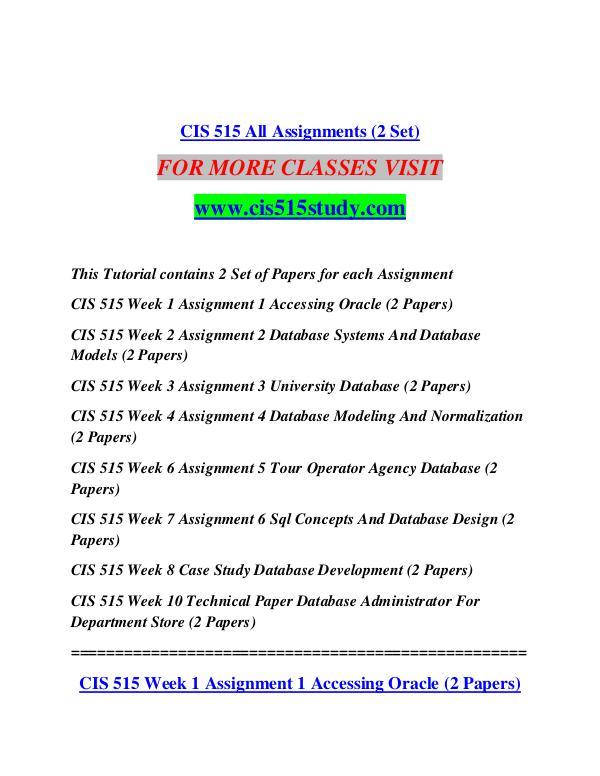 CIS 515 STUDY Extraordinary Life/cis515study.com CIS 515 STUDY Extraordinary Life/cis515study.com