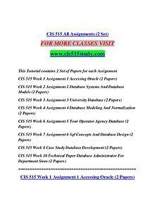 CIS 515 STUDY Extraordinary Life/cis515study.com