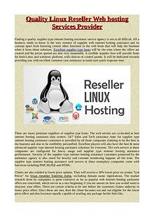 Quality Linux Reseller Web hosting Services Provider