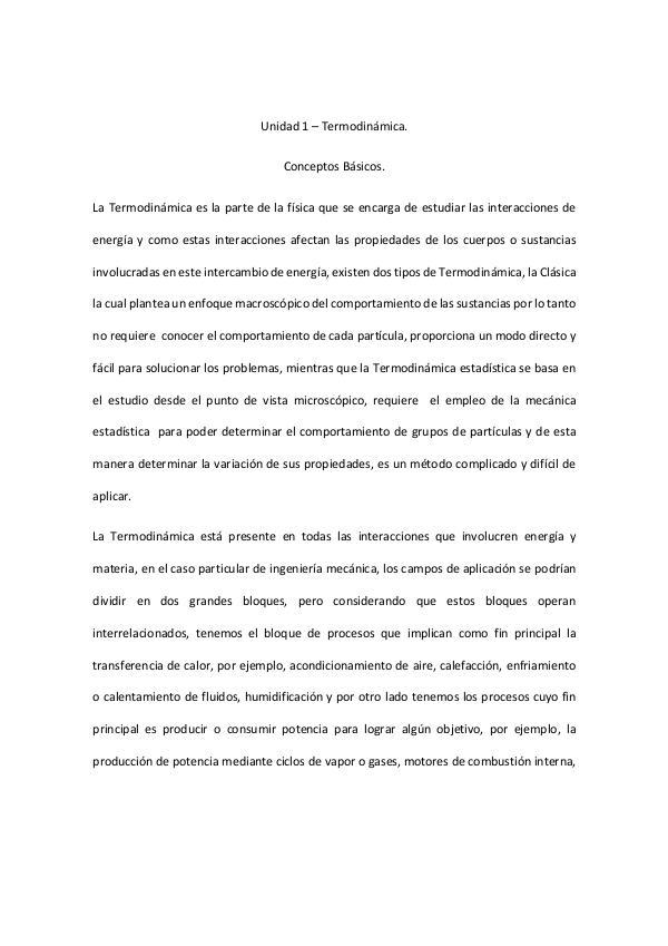 Unidad 1 – Termodinámica. Conceptos Básicos. 1