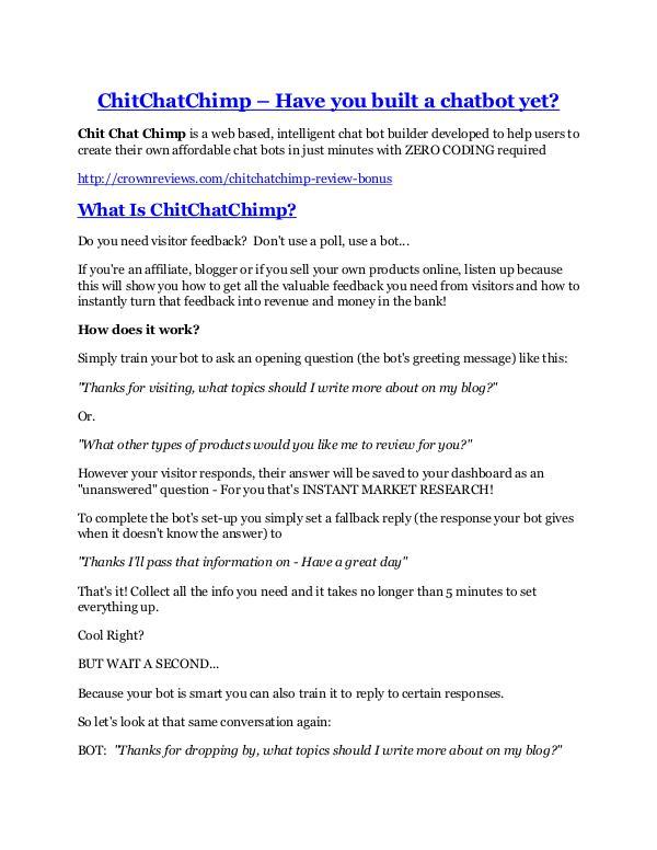 Marketing ChitChatChimp Review and Premium $14,700 Bonus