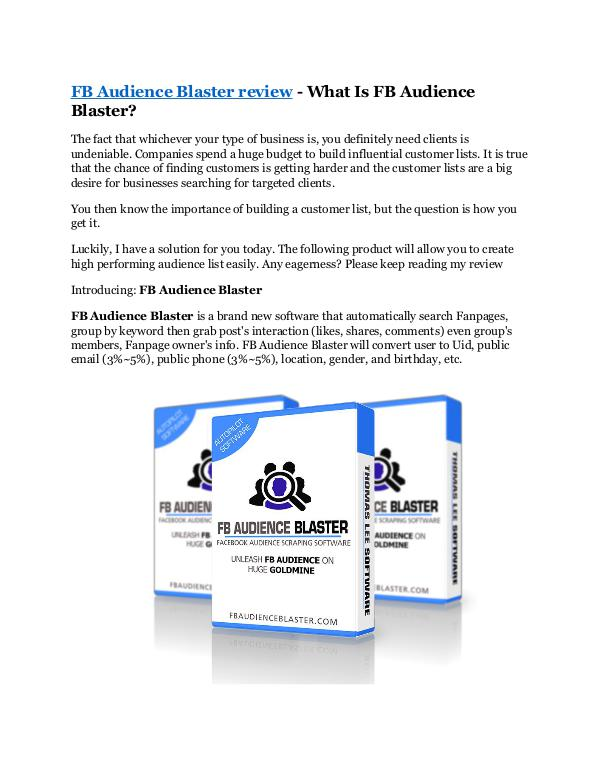 Marketing FB Audience Blaster Review - MEGA $22,400 Bonus &