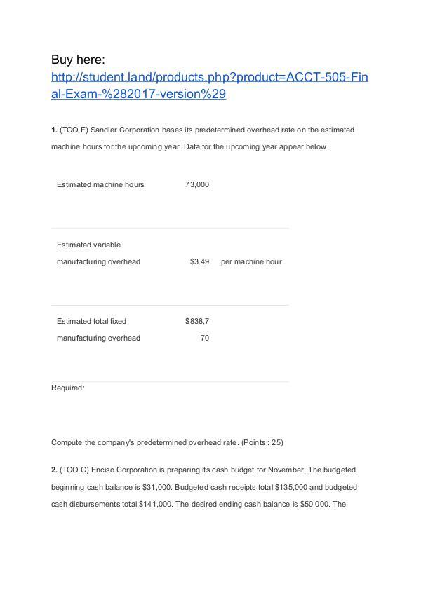 ACCT 505 Final Exam (2017 version) Help