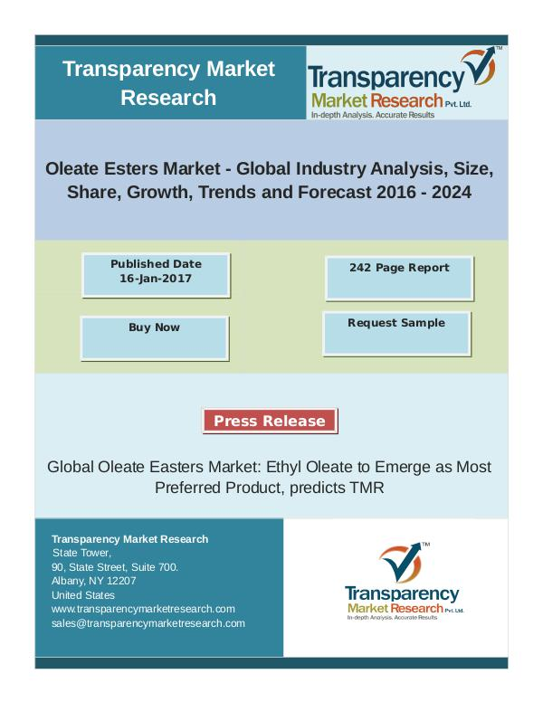 Propylparaben Market Size, Share | Industry Trends Analysis Report, 2 Oleate Esters Market - Global Industry Analysis,Tr
