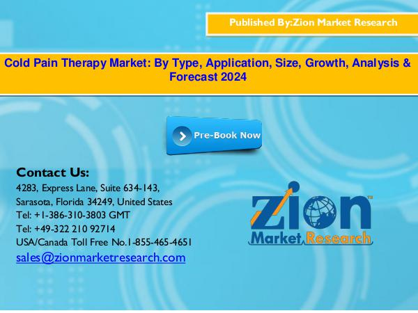 Zion Market Research Cold Pain Therapy Market, 2016–2024