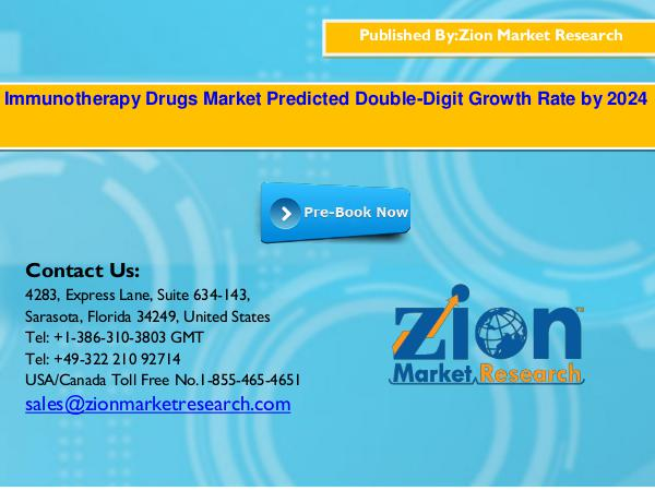 Zion Market Research Global Immunotherapy Drugs Market, 2016–2024