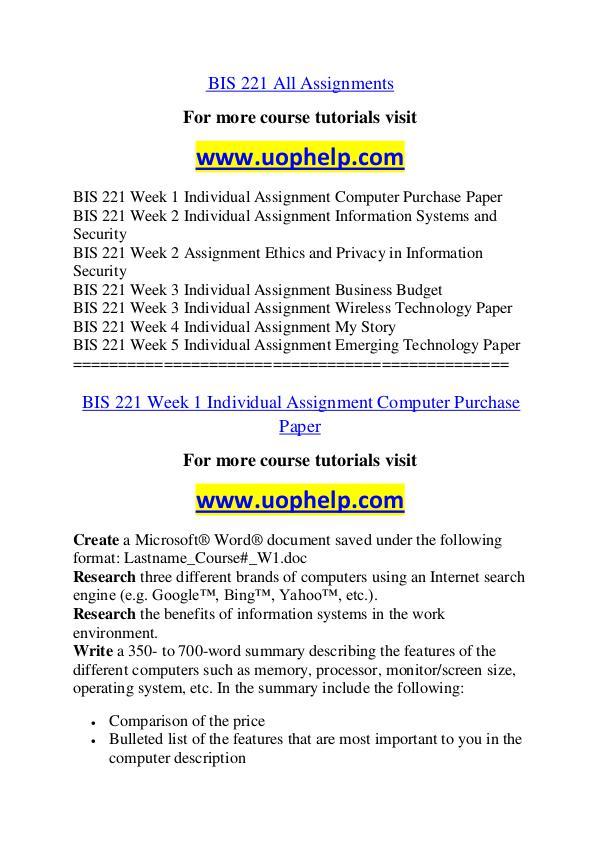 BIS 221 Dreams Come True /uophelp.com BIS 221 Dreams Come True /uophelp.com