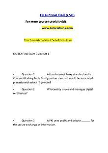 CIS 462 Course Great Wisdom / tutorialrank.com