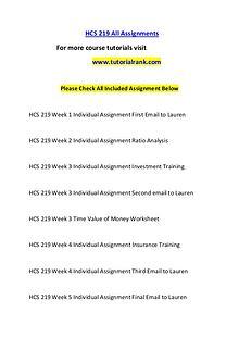 HCS 219 Course Great Wisdom / tutorialrank.com