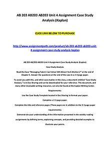 AB 203 AB203 AB203 Unit 4 Assignment Case Study Analysis (Kaplan)