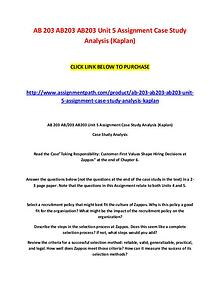 AB 203 AB203 AB203 Unit 5 Assignment Case Study Analysis (Kaplan)