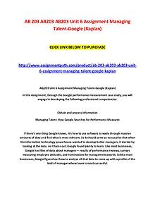 AB 203 AB203 AB203 Unit 6 Assignment Managing Talent-Google (Kaplan)