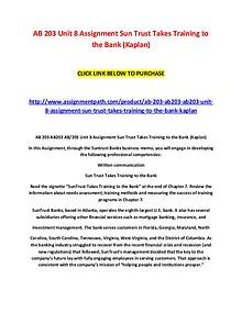 AB 203 Unit 8 Assignment Sun Trust Takes Training to the Bank (Kaplan