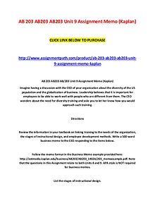 AB 203 AB203 AB203 Unit 9 Assignment Memo (Kaplan)