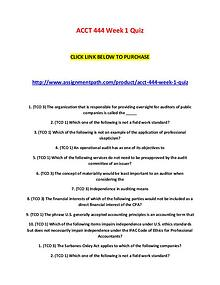 ACCT 444 Week 1 Quiz