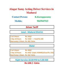 Acting Driver Services in Madurai