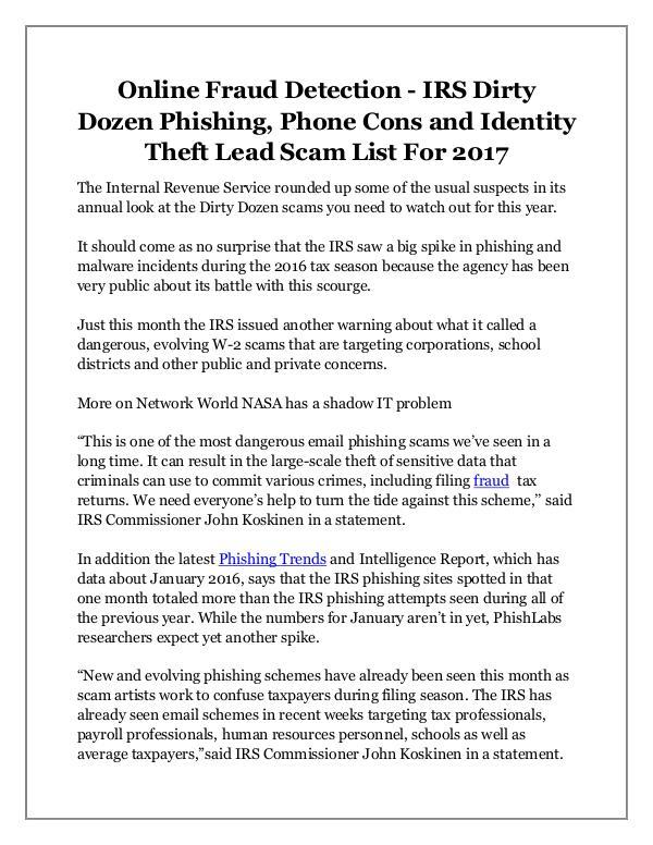 Mauro E. Gonzalez Online Fraud Detection - IRS Dirty Dozen Phishing,