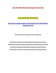 CJA 375 All Individual Assignment (2 Set)