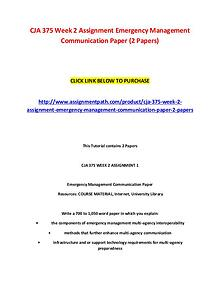 CJA 375 Week 2 Assignment Emergency Management Communication Paper (2