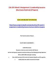 CJA 375 Week 5 Assignment 1 Leadership Lessons (Hurricane Katrina) (2