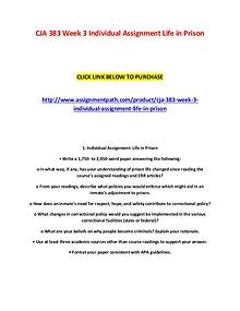 CJA 383 Week 3 Individual Assignment Life in Prison