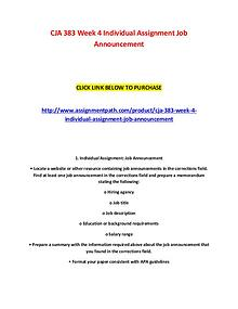 CJA 383 Week 4 Individual Assignment Job Announcement