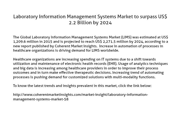 Laboratory Information Management Systems Market LIMS Market to surpass US$ 2.2 Billion by 2024