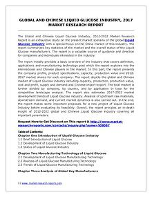 Liquid Glucose Market 2012-2022 Analysis, Trends and Forecasts