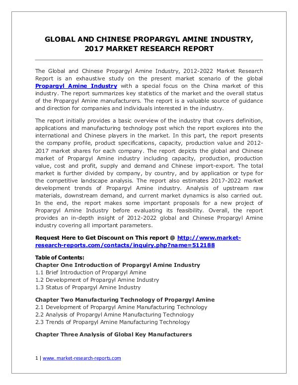 Propargyl Amine Market Trends and 2022 Forecasts for Manufacturers Propargyl Amine Industry 2022 Forecasts for (Globa