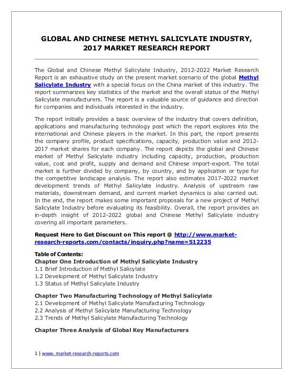 Global Methyl Salicylate Industry Forecast Study 2012-2022 Methyl Salicylate Market 2012-2022 Analysis, Trend
