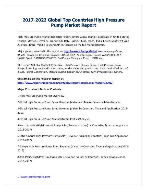 High Pressure Pump Market 2017 Analysis, Trends and Forecasts 2022 High Pressure Pump Market Trends and 2022 Forecast