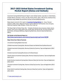 2017-2022 Global Top Countries Investment Casting Market Report