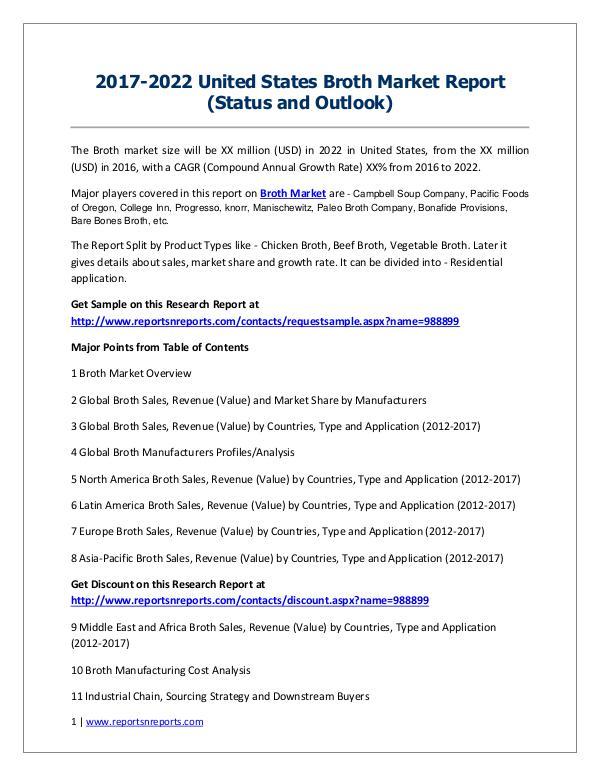 Broth Market 2012-2022 Global Key Manufacturers Analysis Report 2017-2022 United States Broth Market Report (Statu