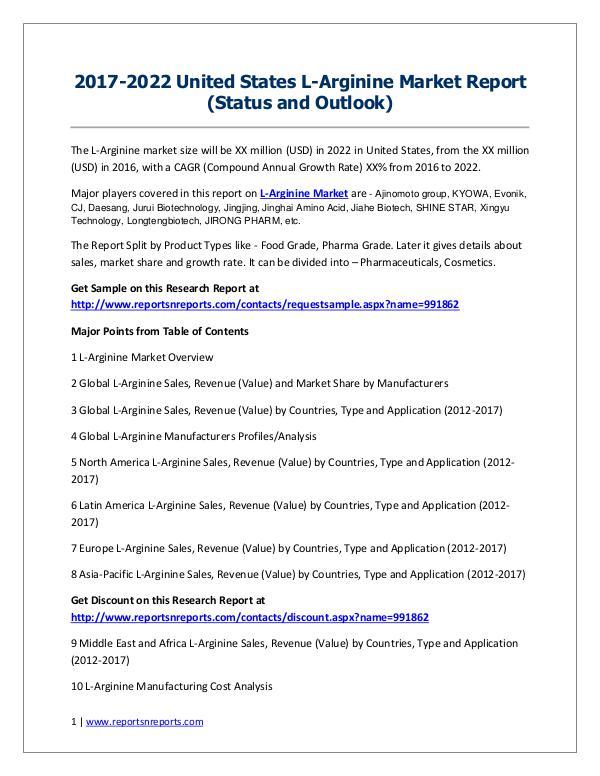 L-Arginine Market 2017 Analysis, Trends and Forecasts 2022 2017-2022 United States L-Arginine Market Report (