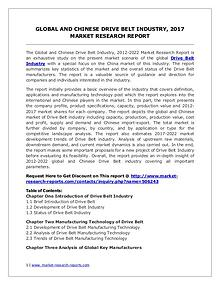 2017 Drive Belt Industry Report – Global and Chinese Market Scenario